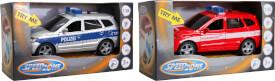 Speedzone SUV Einsatzfahrzeuge, Licht und Sound, 1:38, 2-fach sortiert, Rückzug