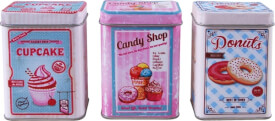 Cupcake,Candy Shop, Donuts Metalldose Set