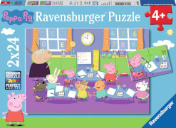 Ravensburger 09099 Puzzle: Peppa in der Schule, 2x24 Teile
