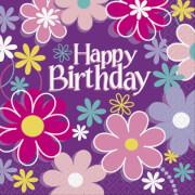 Happy Birthday Blossom Servietten 33x33 cm 16 Stück