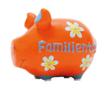 Sparschwein ''Familientag'' - Kleinschwein von KCG - Höhe ca. 9 cm